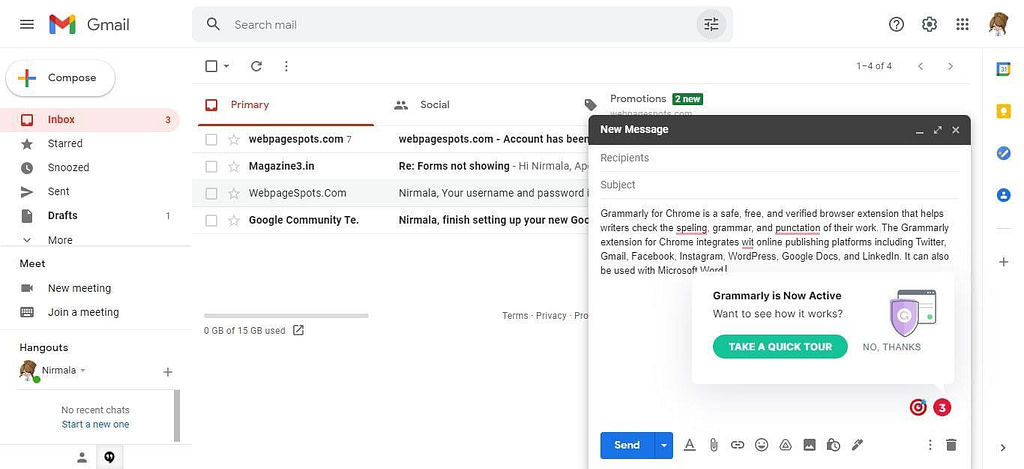 Grammarly plugin for Gmail