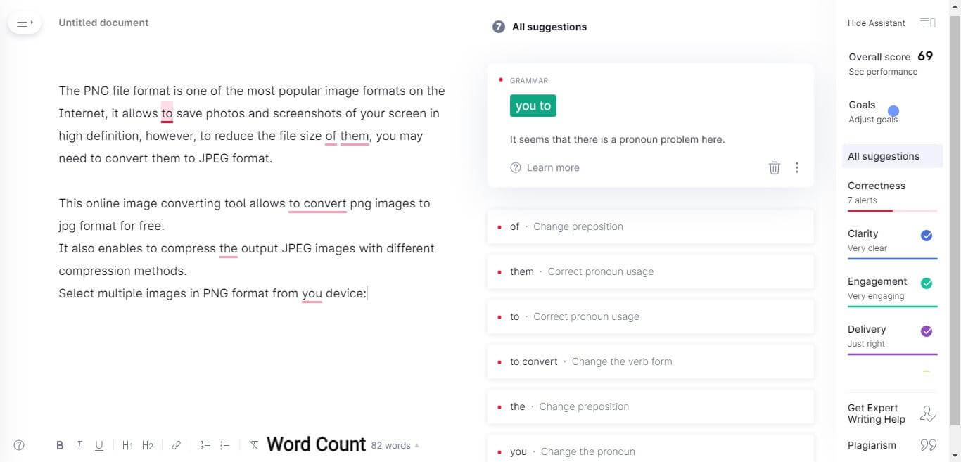 Grammarly New Document Page. How To Use Grammarly For Beginners? A Sight Grammarly Free Vs Premium Features